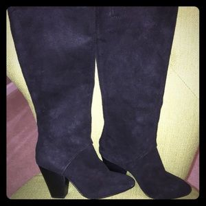 Black suede knee high boots zipper